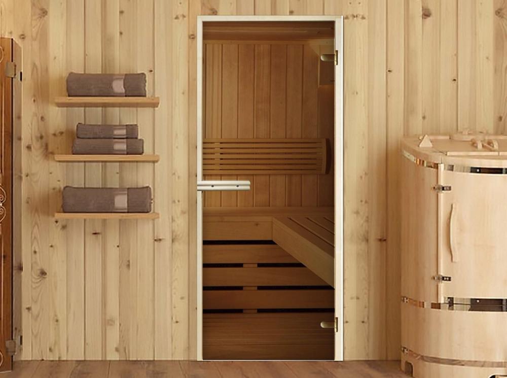 Стеклянная дверь в парную